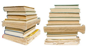 Pile of old shabby books isolated Closeup Stock Image