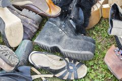 Pile of old shoes Royalty Free Stock Image
