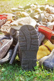 Pile of old shoes stock image