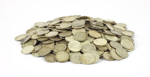 Pile of old silver dimes Royalty Free Stock Image