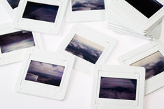 Pile of old slide frame Stock Images