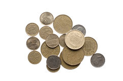 Pile of old spanish coins royalty free stock image