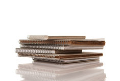 Pile of Old Spiral Note Pads Royalty Free Stock Photo