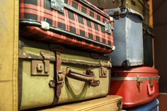 Pile of old suitcases. Pile of old vintage suitcases Stock Photography