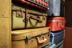 Pile of old suitcases. Pile of old vintage suitcases Stock Photos