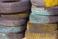 Pile of old tires and wheels for rubber Stock Image