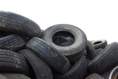 Pile of old tires on white background Royalty Free Stock Photo
