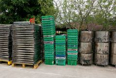 Pile of Old variety container stack stock image