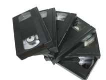 Pile of old video cassetes isolated over white Royalty Free Stock Image