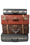 Pile of old vintage bag suitcases Stock Photos