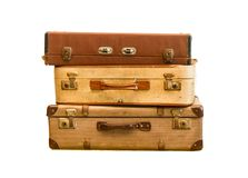 Pile of old vintage bag. Suitcases on isolate background Stock Images