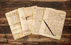 Olds  manuscripts with nib. Pile of old vintage manuscripts with nib Royalty Free Stock Photos