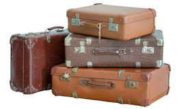 Pile of old vintage suitcases. Luggage Royalty Free Stock Images