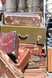 Pile of old vintage suitcases - luggage. Pile of old vintage suitcases, luggage, close up Stock Image