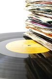 Pile of old vinyl records on an LP. Royalty Free Stock Images