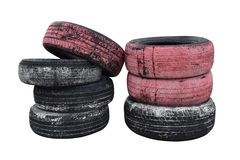 Pile old wheels painted For Bumper Raceway Stock Photo