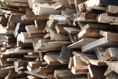 Pile of old wood. Pile of old, dirty wood because of home improvement or renovation royalty free stock photography