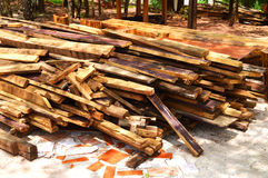 Pile of old wood plank Stock Photo