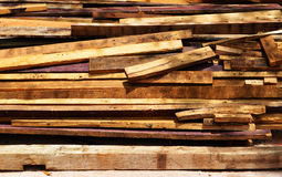 Pile of old wood plank Royalty Free Stock Image