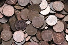 Pile of one Euro cents. Currency of the European Union. Pile of one Euro cents royalty free stock photography