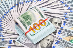 Pile of one hundred american dollar bills Royalty Free Stock Image