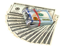 Pile of one hundred dollar bills Royalty Free Stock Photography