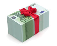 Pile of one hundred euro banknotes with red ribbon. And bow, isolated on the white background, clipping path included Royalty Free Stock Photo