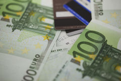 Pile of one hundred euro bills Stock Images