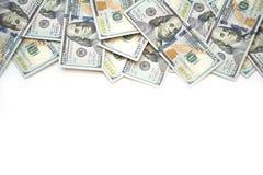 Pile of one hundred US Dollar Bills money on white back stock photo
