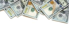 Pile of one hundred US Dollar Bills money on white back stock photography