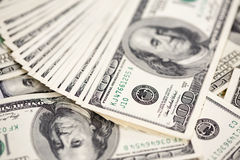 A pile of one hundred US dollar bills Royalty Free Stock Images