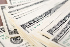 A pile of one hundred US dollar bills Royalty Free Stock Photo