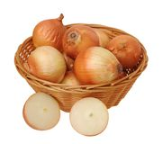Onions in basket Royalty Free Stock Photos