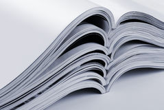 Pile of open blank magazines Royalty Free Stock Photography
