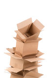 Pile of open cardboard boxes Stock Images