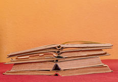 Pile of open old books Royalty Free Stock Photography