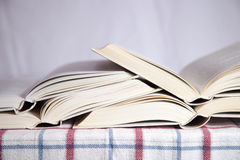 Pile of the opened books Stock Image