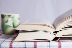 Pile of the opened books. On a table stock photography