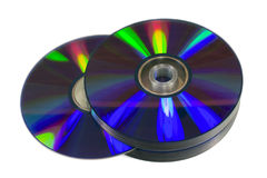 Pile of optical discs (CD, DVD or Blu-ray) Stock Image