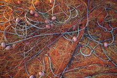Pile orange fishing net Royalty Free Stock Photo