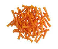 A pile of orange plastic dowels on isolated background. A pile of orange plastic dowels on isolated white background Stock Photography