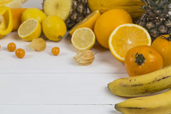Pile of orange and yellow fruit royalty free stock photography