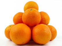 Pile of oranges. Pile pf oranges on a white background stock photography