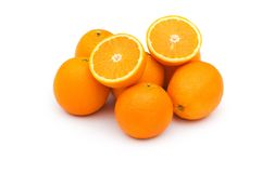 Pile of oranges isolated. On the white Royalty Free Stock Image