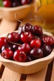 Pile of organic cherries Stock Photos
