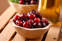 Pile of organic cherries Stock Photos