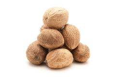 Pile of Organic Nutmeg Seed. Royalty Free Stock Photos