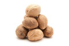 Pile of Organic Nutmeg Seed. Royalty Free Stock Photos