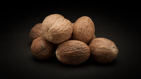 Pile of Organic Nutmeg Seed (Myristica fragrans) Stock Photography