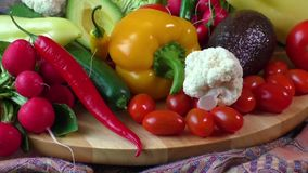 Pile of organic vegetables stock video
